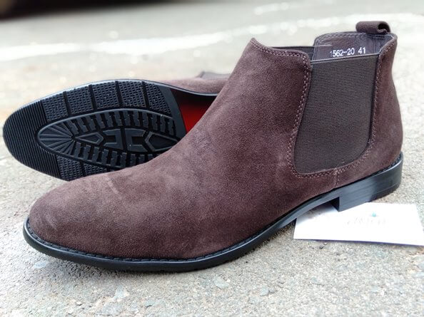 Coffee brown suede chelsea boot