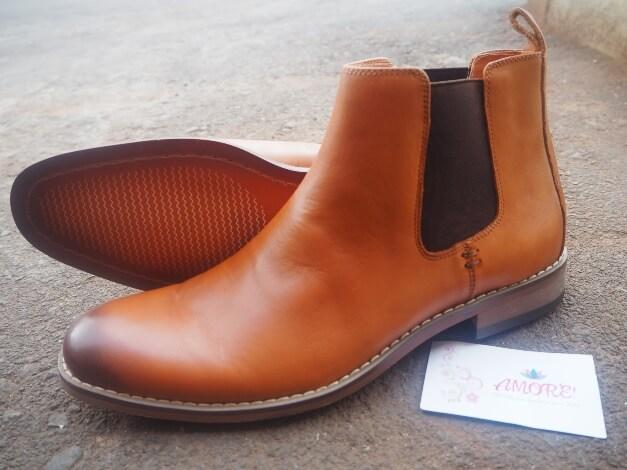 Cognac Leather Chelsea Boot