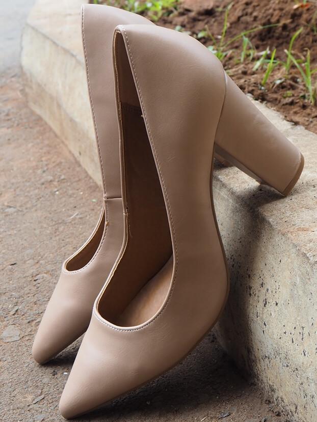 Nude Matte Block Heel