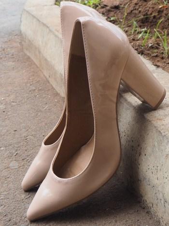 Nude Pointed Blocked Heel
