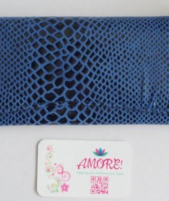 Blue Snake Skin Leather Wallet