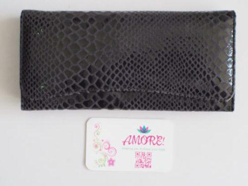 Greyish Snake Skin Leather Wallet