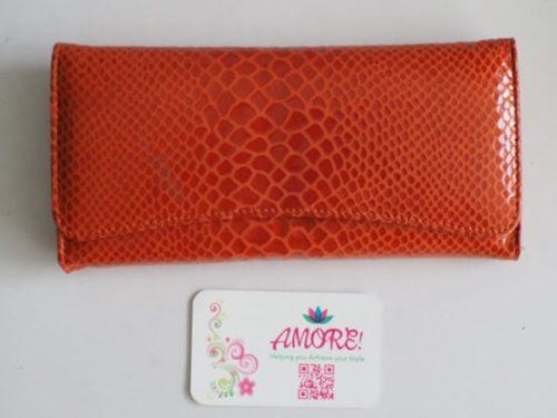 Orange Snake Skin Leather Wallet