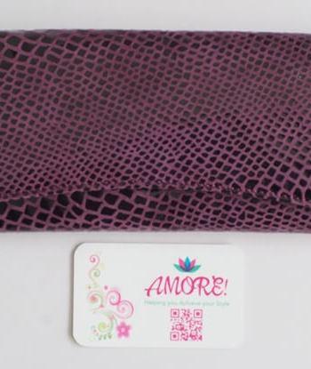 Purple Snake Skin Leather Wallet