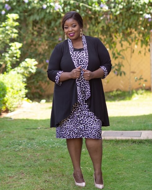 Black cheetah jacket dress