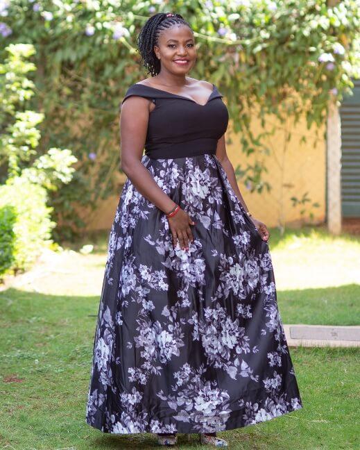 Black white floral ballroom gown