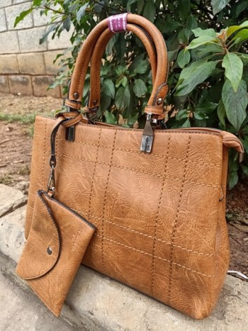 Earth brown thread striped bag