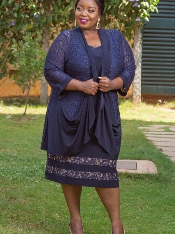 Navy blue jacket dress with lace