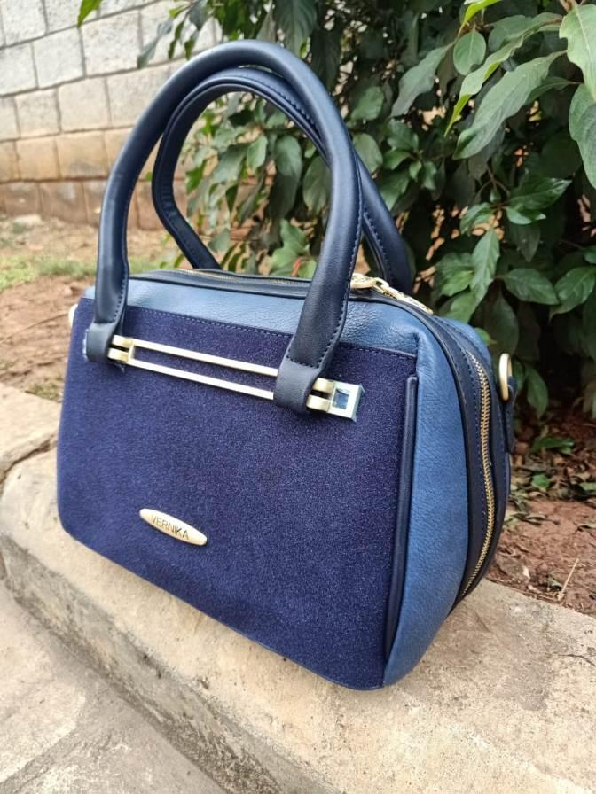Navy blue suede bag