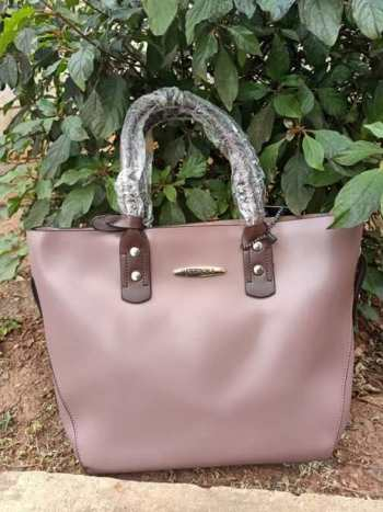 Pink brown strap bag