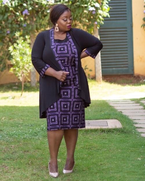 Purple black jacket dress