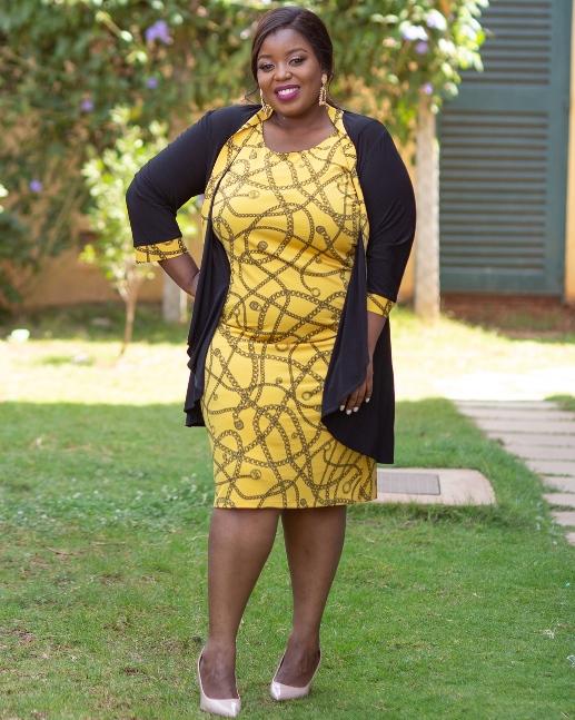 Yellow black jacket dress