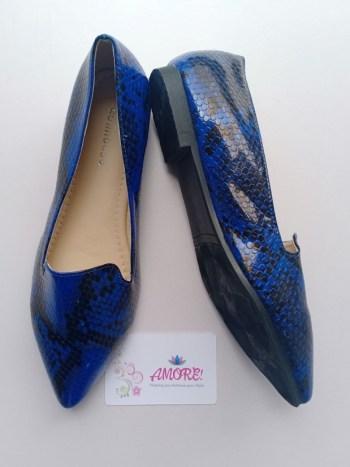 Blue animal print doll shoe
