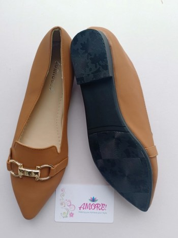 Brown pointed with buckle doll shoe