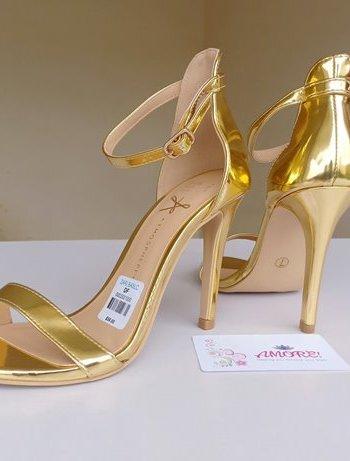 Gold strappy heel