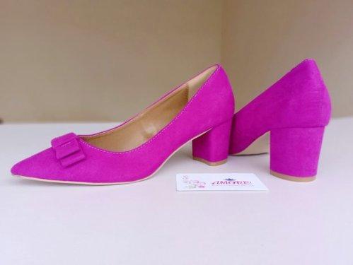 Purple bow suede chunky heel