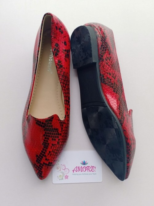 Red animal print doll shoe