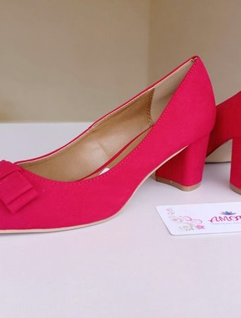 Red bow suede chunky heel