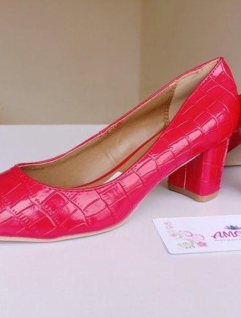 Red wetlook chunky heel
