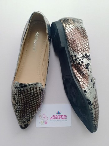 Silver brown animal print doll shoe