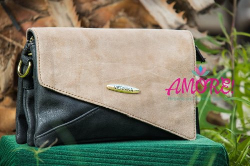 Black khaki clutch slash sling bag