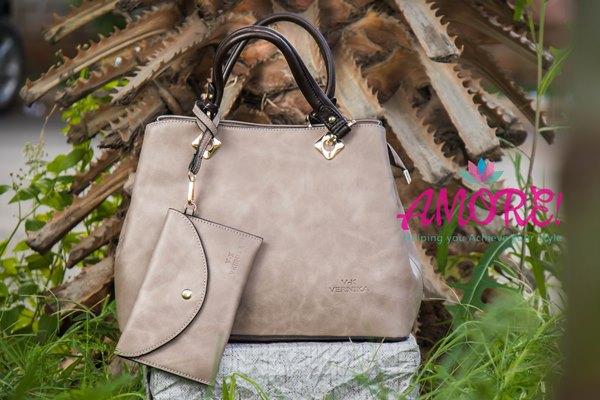 Camel grey brown strap bag
