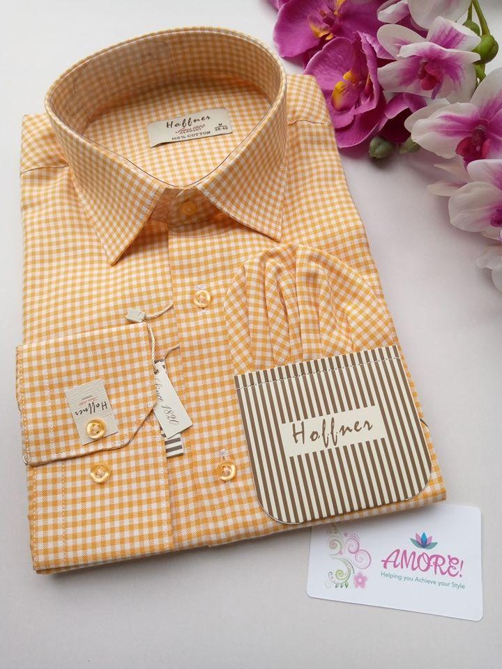 Checked orange shirt