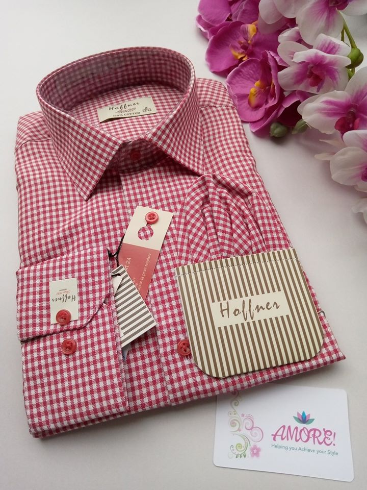 Checked red small boxes shirt