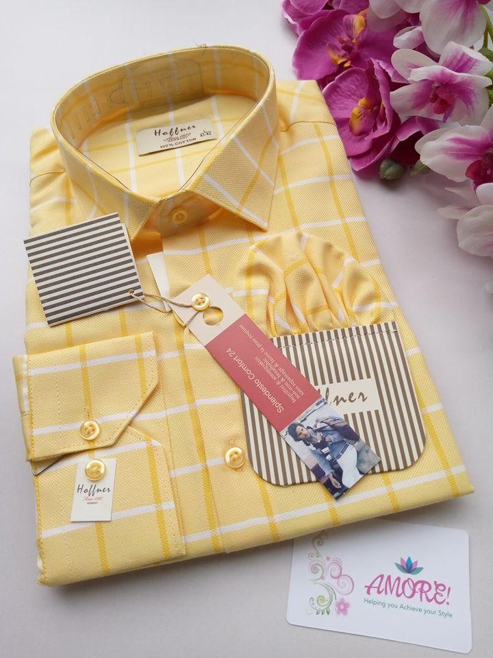Checked yellow shirt