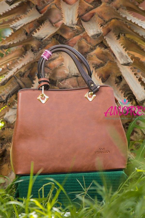 Cognac brown strap bag