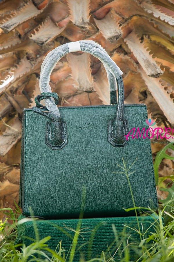 Emerald green aniaml print strap bag