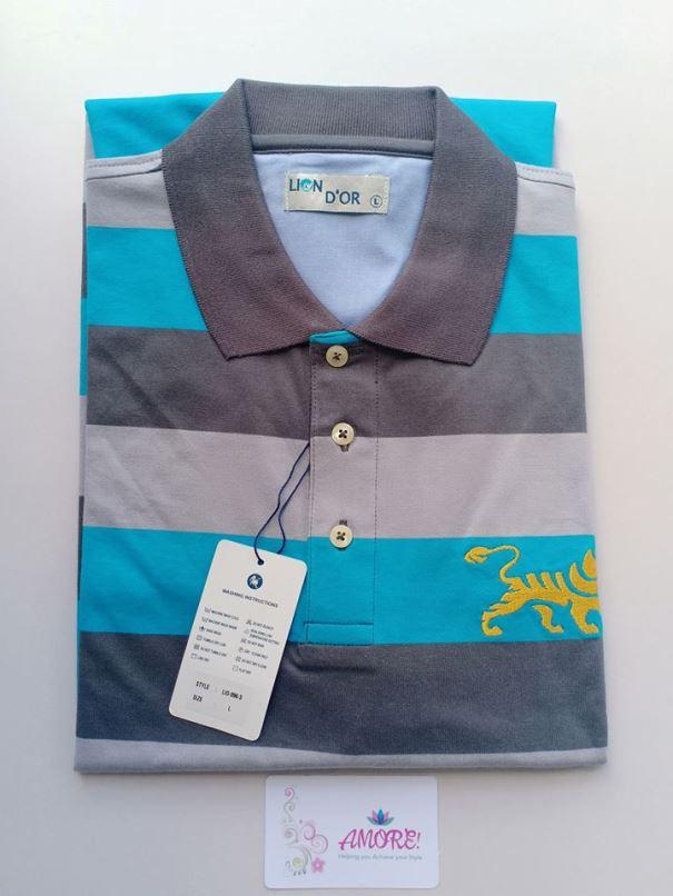 Grey blue pol tshirt