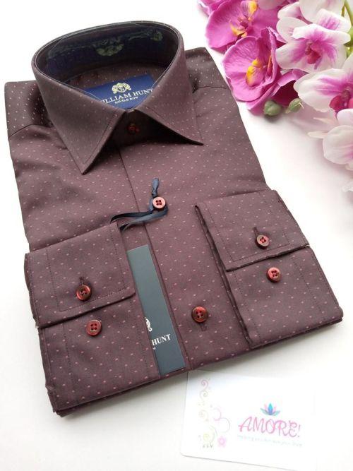 Maroon polka shirt