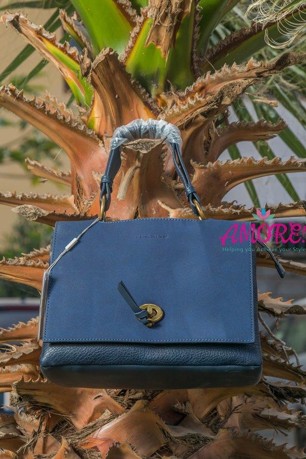 Navy blue suede flap petite bag