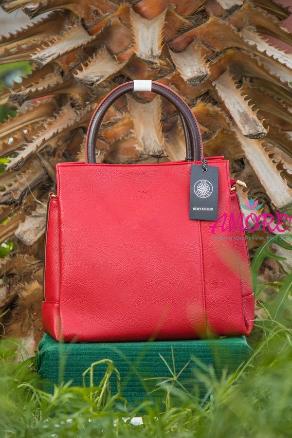Red bag with brown sides