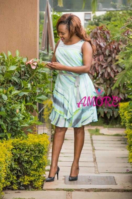 Lime green grey chiffon dress
