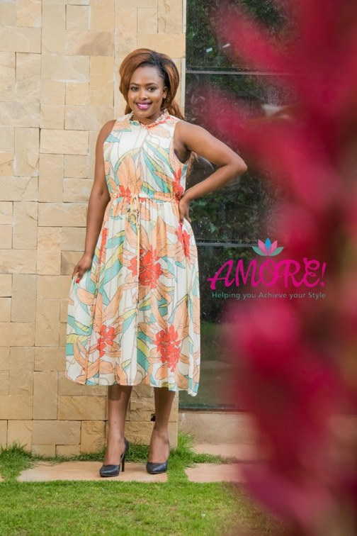 Orange floral chiffon dress