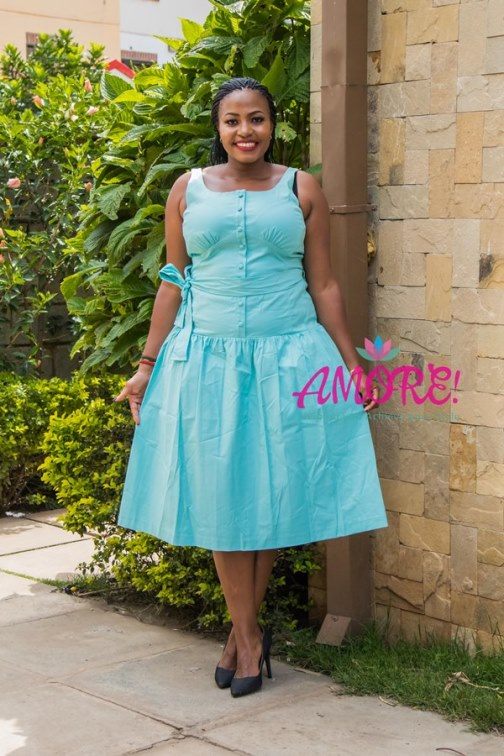 Turquiose blue round dress