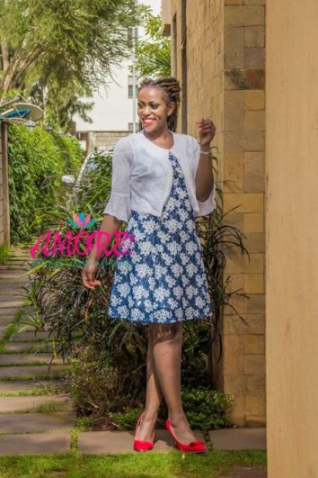 Floral blue with white bullero dress