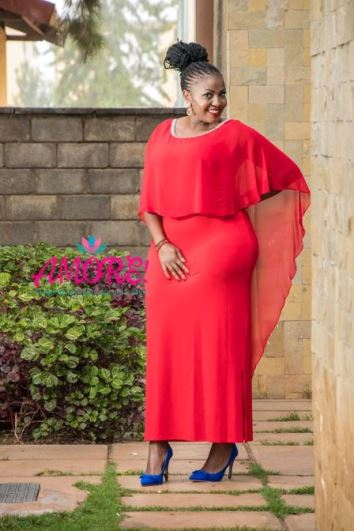 Red long overflap dress