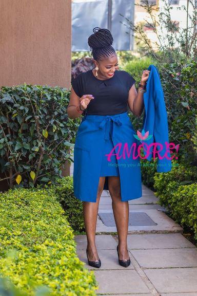 Blue skirt suit