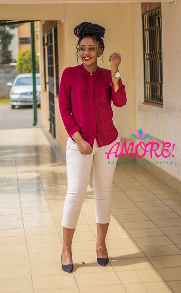 Maroon pleated top with cream chino