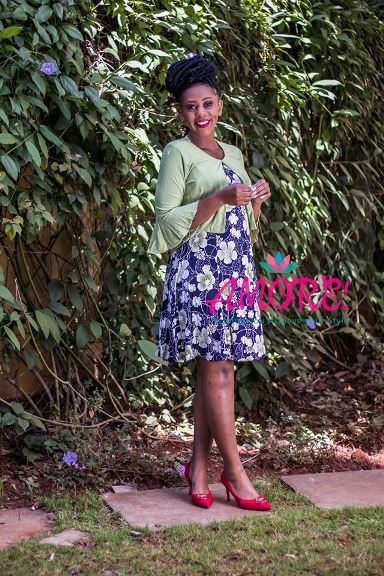Navy floral skater with small cover up