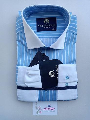 Sky blue striped white shirt