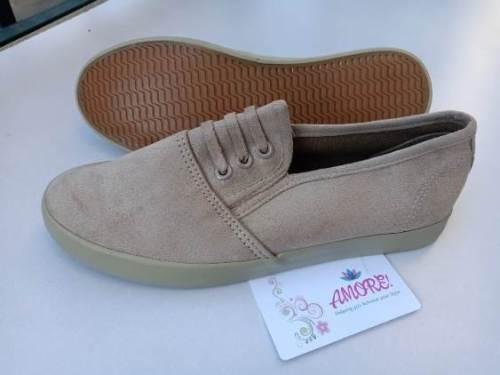Beige suede rubber shoe