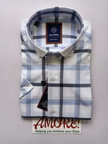 Checked navy blue and white short sleeve shirt