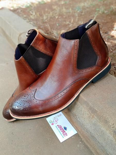 Chelsea wing tip coffee brown boot