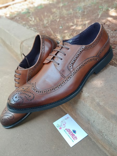 Coffee brown oxford suit shoe