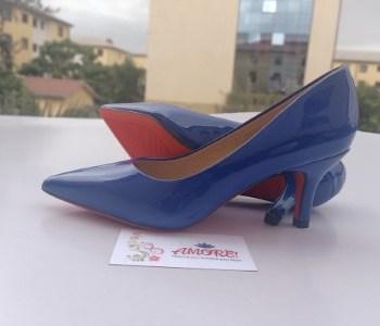 Royal blue wtlook kitten heel