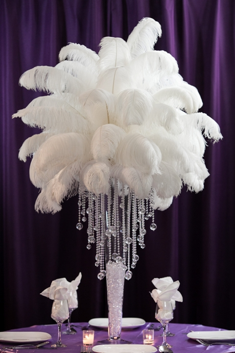 Ostrich feather centerpiece rental weddings sweet